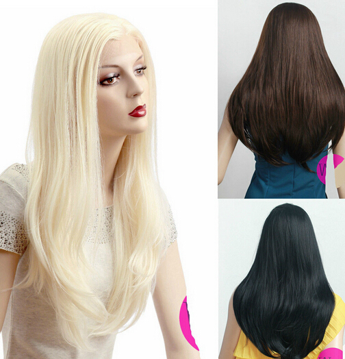 002283 Blonde Brown Black Long Straight Lace Front Wig Hair Cosplay Wigs can choose