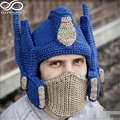 Men Women Cool Novelty Crochet Transformer Beanie Knitted Optimus Prime Helmet +Mask Handmade Autobots Photography Props Cap
