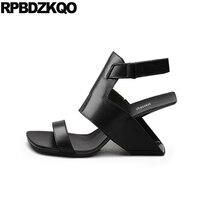 Wedge Slingback High Heels Italian Strap 2018 Size 4 34 Square Toe Ladies Handmade Genuine Leather Women Shoes Pumps Sandals