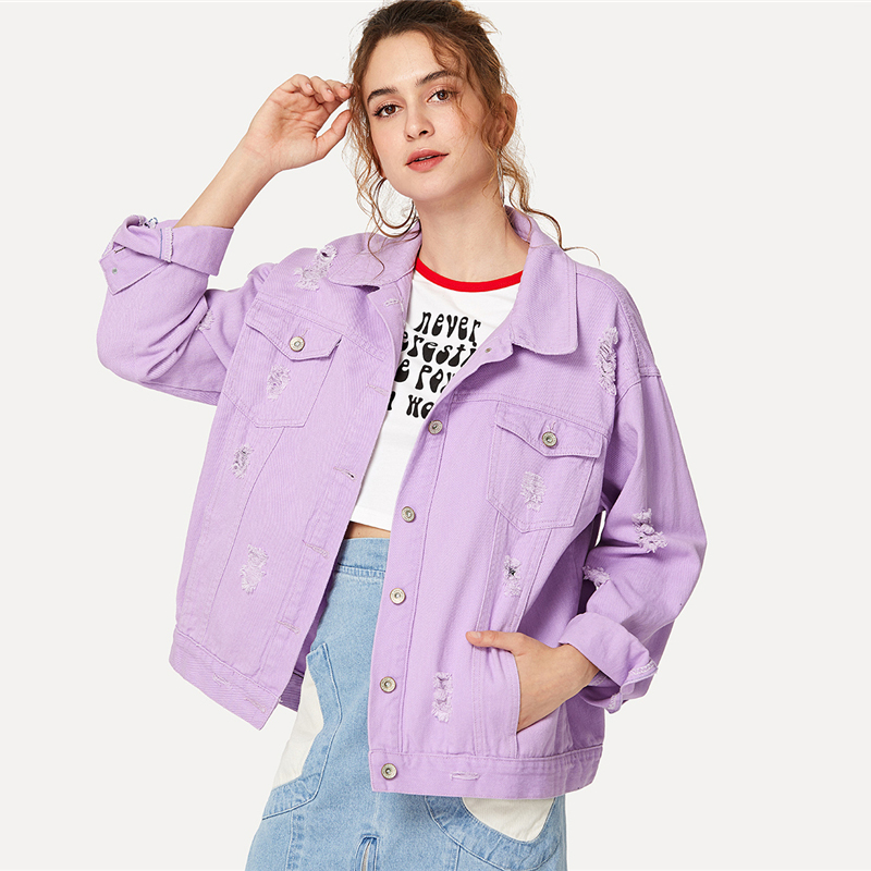 COLROVIE Ripped Drop Shoulder Women Denim Jackets Black White Oversize Purple Casual Female Jacket Coat Chic Jacket for Girls 9