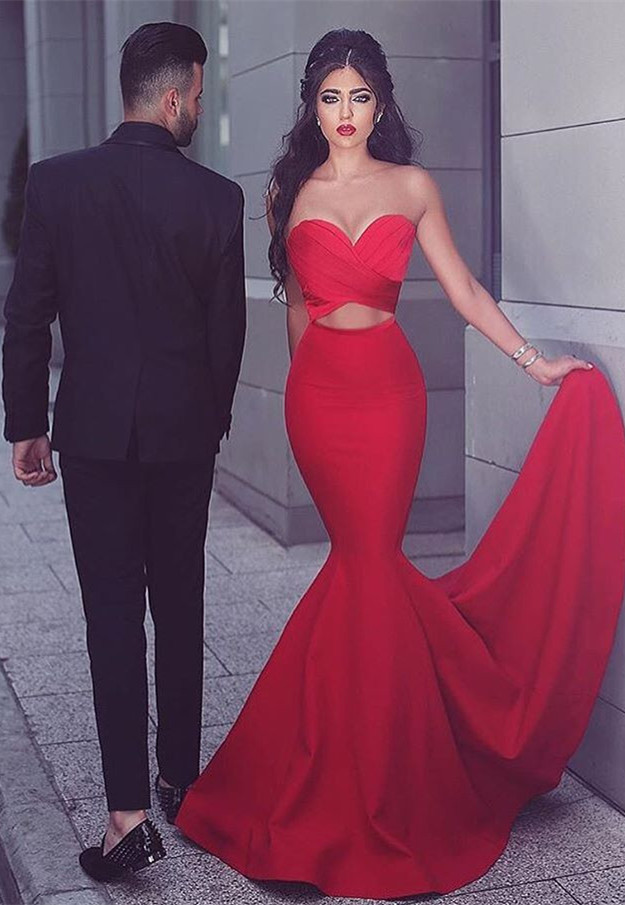 Sexy Red Mermaid Evening Dress Sweetheart Long Evening Gowns Prom