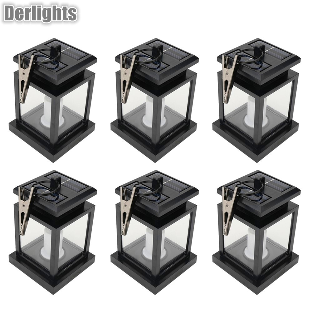 6pcs Led solar light lamp led candle lantern chandelier hanging garden light with clip outdoor patio lighting Wholesale vintage led solar lantern lights outdoor hanging light candle lantern solar powered garden lamp for garden lawn patio