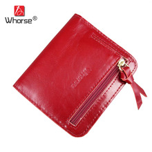 WHORSE Brand New Fashion Genuine Leather Women Wallet Small Zipper Wallets Ladies Short Purse For