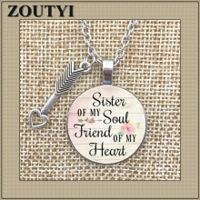 2018/ new soul sister my friend charm alloy glass pendant necklace, inspirational jewelry,
