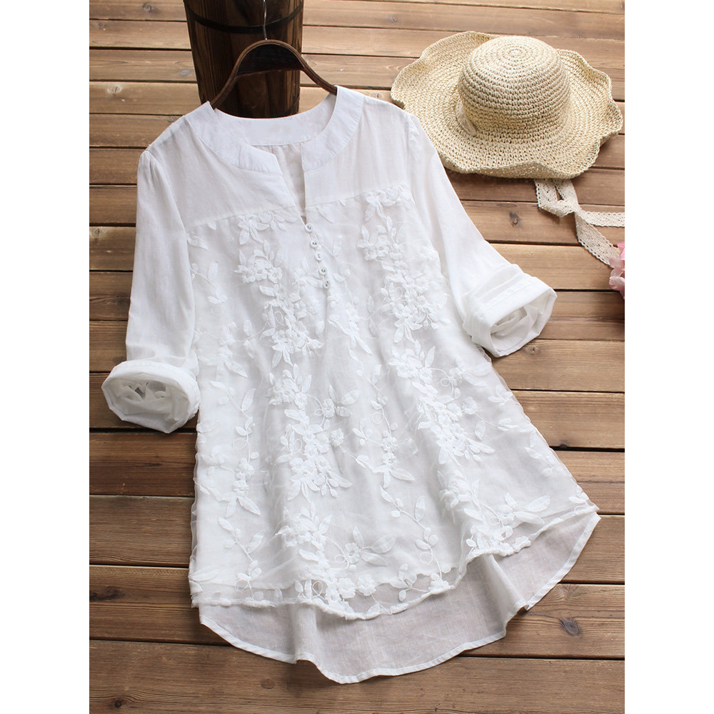 White Blouse Shirt Tops Embroidery V-Neck Long-Sleeve Tunic Summer Floral-Print Elegant