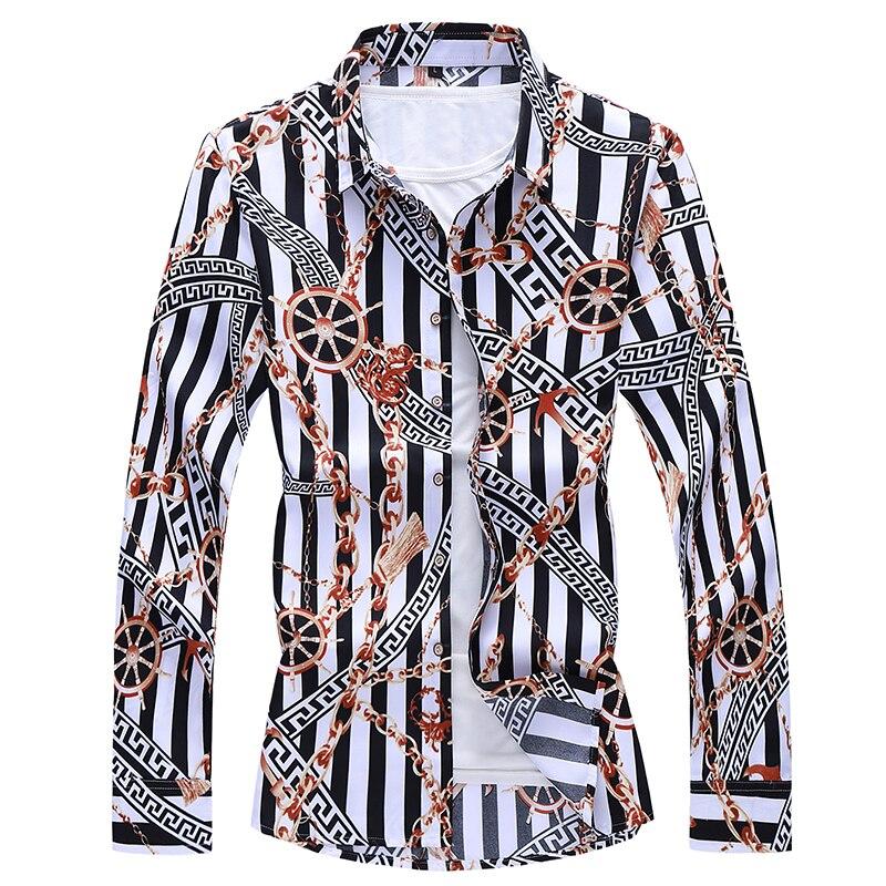 Рубашка повседневная мужская, с принтом и длинным рукавом, большого размера, 6XL 7XL