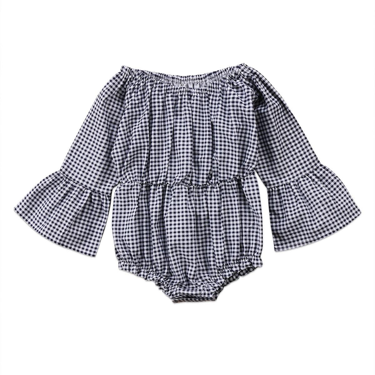 100% Kwaliteit Pasgeboren Baby Baby Meisje Kid Pagode Vlinder Mouw Jumpsuit Plaid Patroon Bodysuit Kleding 0-24 M En Om Een Lang Leven Te Hebben.