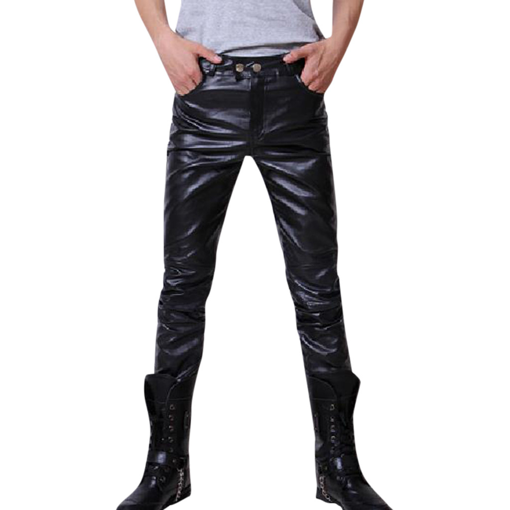 Men's New Fashion Autumn Winter Moto Biker Slim Fit Leather Long Pants M-3XL Pantalones Hombre Streetwear Joggers Pantalon Homme