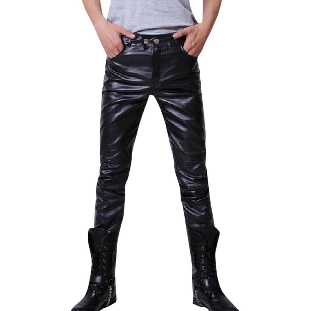 Men's New Fashion Autumn Winter Moto Biker Slim Fit Leather Long Pants M-3XL Pantalones Hombre Streetwear Joggers Pantalon Homme