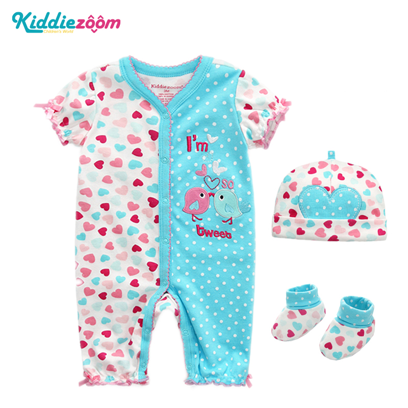 Newborn Baby Rompers Boys&Girls Dresses Unisex Clothing Outfit Prints Baby Sweety Clothes Romper+Hat+Sock Roupas De Bebe