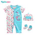 Newborn Baby <font><b>Rompers</b></font> Boys&Girls Dresses Unisex Clothing Outfit Prints Baby Sweety Clothes <font><b>Romper</b></font>+Hat+Sock Roupas De Bebe