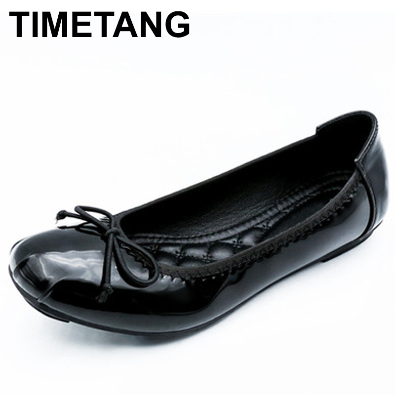 TIMETANG Spring Summer Women Flats Patent Leather Square Toe Bow Footwear Fashion Comfortable Female Ballerina Boat Shoes C135 plue size 34 49 spring summer high quality flats women shoes patent leather girls pointed toe fashion casual shoes woman flats