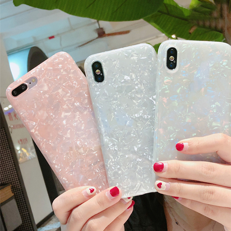 Dream Shell Phone Cases For iphone X 10 6S 6 7 8 Plus Case Glossy Bling Smooth Soft Silicone TPUMobile Phone Bag Cover Capa