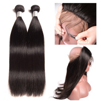 RXY Remy Hair 360 Lace Frontal With Bundle Brazilian Straight Human Hair Weave 2 Bundles With Closure Pre Plucked Baby Hair 3pcs