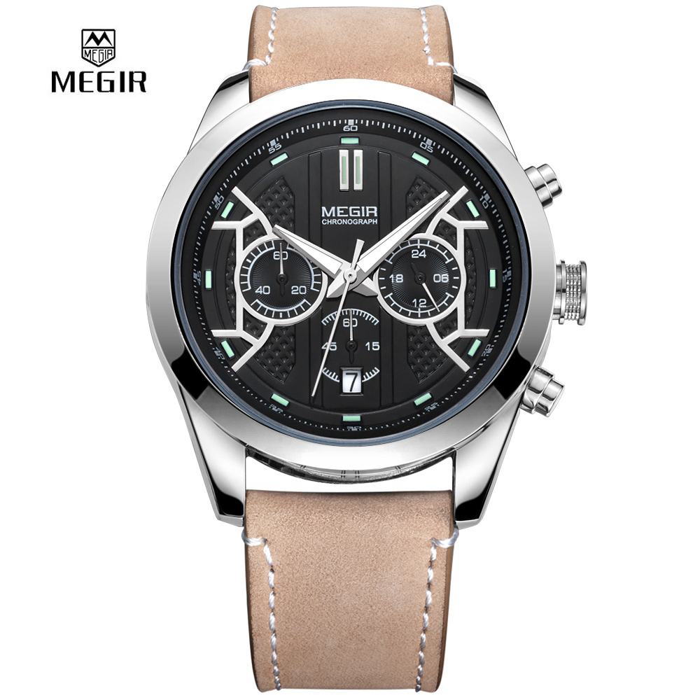 цена на MEGIR Fashion Men Watch Casual Quartz Watches Clock Men Chronograph Calendar Waterproof Relogio Masculino 3016 Genunie Leather