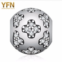 YFN Authentic 925 Sterling Silver CZ Crystal Flower European Charm Fashion Bead DIY Jewelry For Bracelet