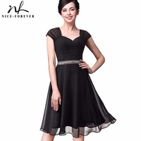 Nice Forever Summer Vintage Sexy Mesh Chiffon Sweat Heart Neck Cap Sleeve Work Sequin Dress A