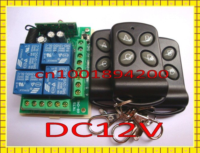 4 Relay CH Wireless Receiver&Transmitter  DC12V  Momentary Toggle Latched RF Remote Control Switch System LED SMD ON OFF new rf wireless switch wireless remote control system 2transmitter 12receiver 1ch toggle momentary latched learning code 315 433