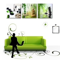 BANMU 3 Panels Unframed Canvas Photo Prints Zen Stone Flower Bamboo Wall Art Picture Canvas Paintings