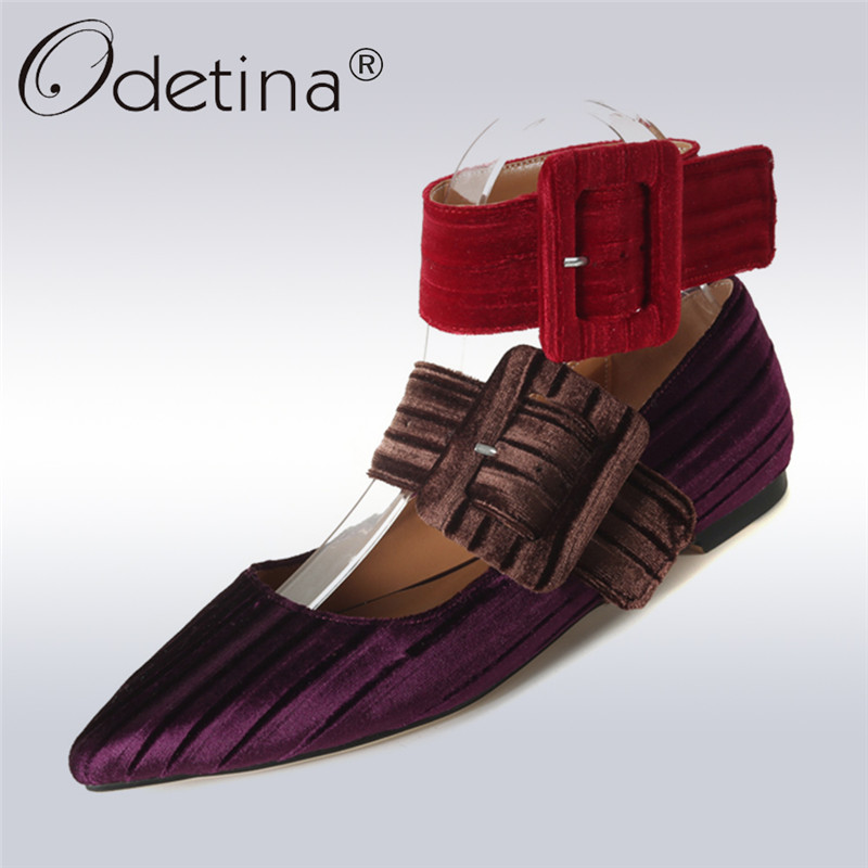 Odetina 2018 New Fashion Women Basic Buckle Strap Shoes Ladies Leisure Pointed Toe Chunky Heels Low-heeled 2 CM Flock Casual цена 2017