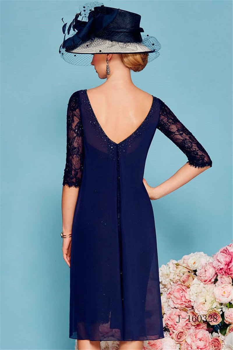 2017 Mother Of The Bride Dresses With Jacket Cap Sleeves Navy Blue Short Evening Dresses Mother Dresses vestido de madrin (1)