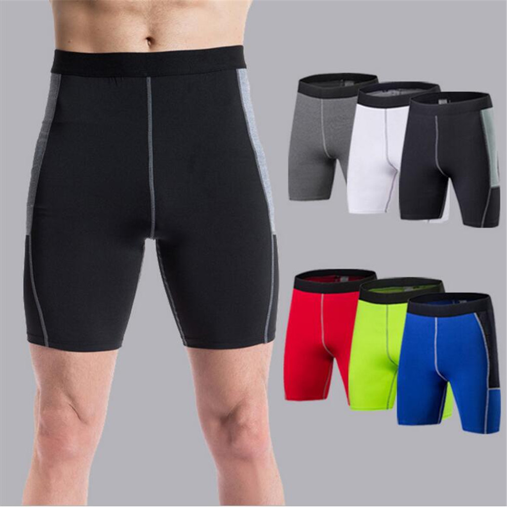 #1014 Men Boys High Elasticity Sports Training Bodybuilding Running Stitching Tights Sweat Wicking Quick Dry Shorts 6ColorS~XXL