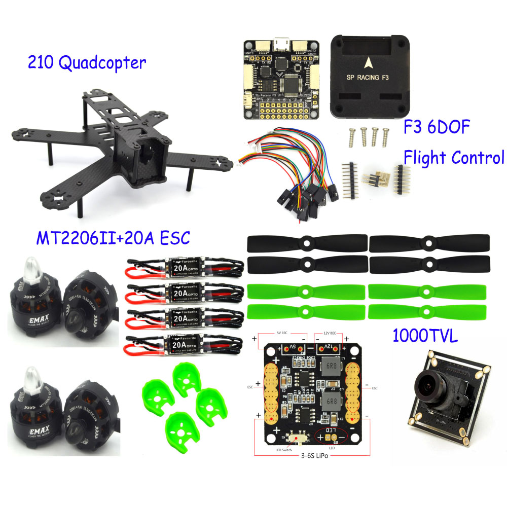 fpvQuadcopter 210mm Carbon Fiber Mini drone Frame F3 Flight controller 2206 1900kv motor 4050 Props rc quadcopter with camera diy fpv mini drone qav210 zmr210 race quadcopter full carbon frame kit naze32 emax 2204ii kv2300 motor bl12a esc run with 4s