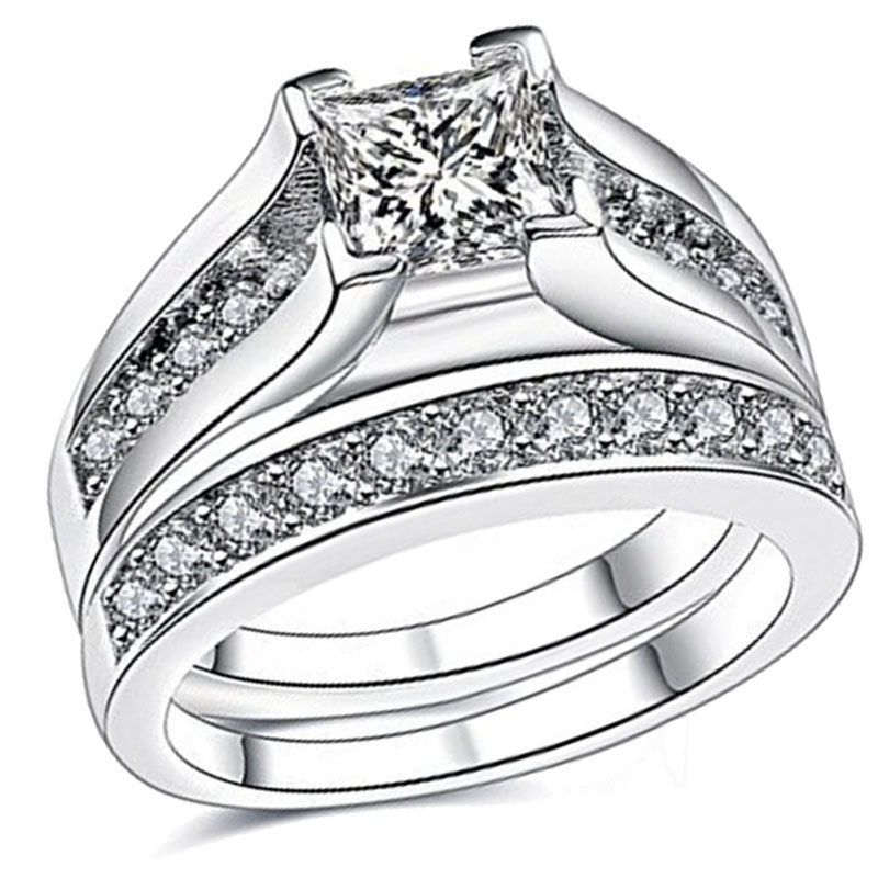 Silver Brass Ring Bridal Sets Zircon Gemse Anniversary Promise Wedding Engagement Band For Women Grils
