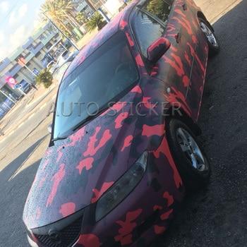 5/10/15/20/25/30m*1.52m Big Red Black Camo Vinyl Camouflage Car Wrap Car Vinyl Sticker Sheet Digital Decals with Bubble Free