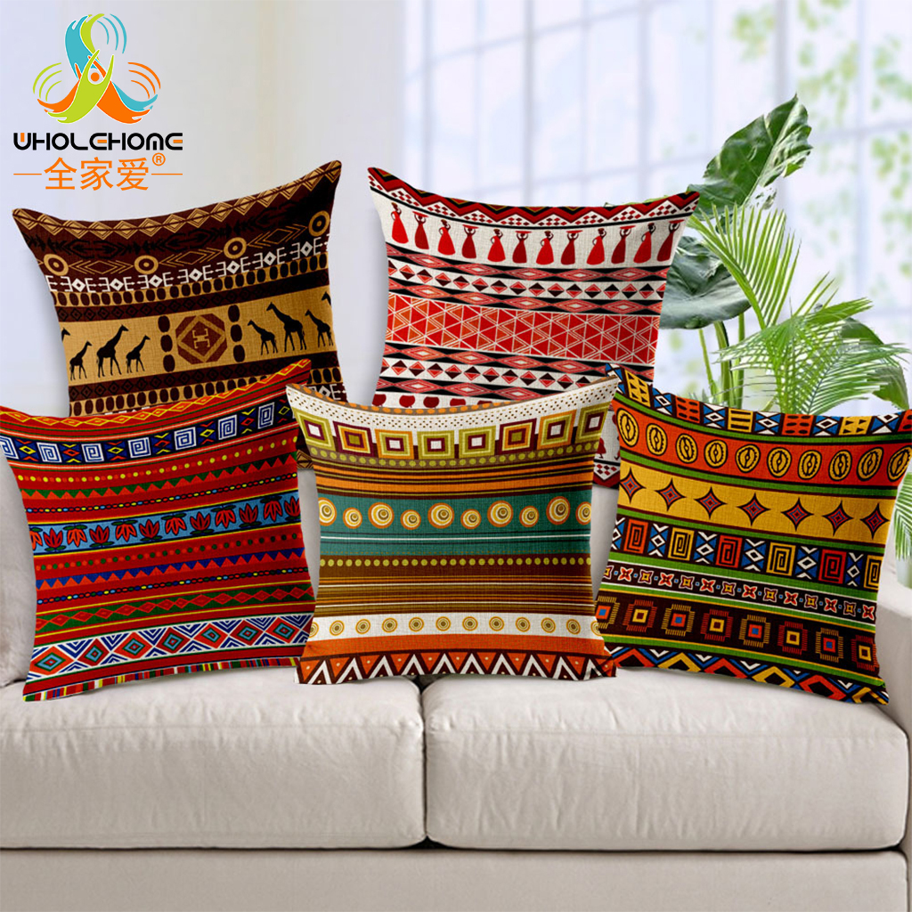 45x45cm Cotton Linen Boho Pillowcase Indian Bohemian Cushion Cover For Home Christmas Decor Bedding Sofa Seat Car Pillow Cases