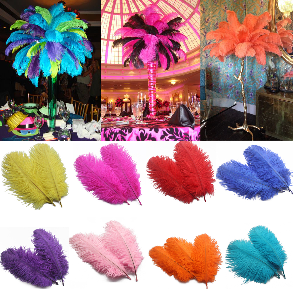 Купить с кэшбэком 50pcs/Lot Multicolor Natural Hard Rod 15cm-20cm/6-8 inch Ostrich Feathers Wedding Birthday Party Christmas Decorations