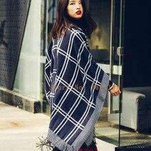 2016 Nouvelle Écharpe Femmes de Haute qualité foulards Tartan Plaid Écharpe  Couverture Surdimensionné Wrap Châle robe d hiver fo. 6cc0729ad1d
