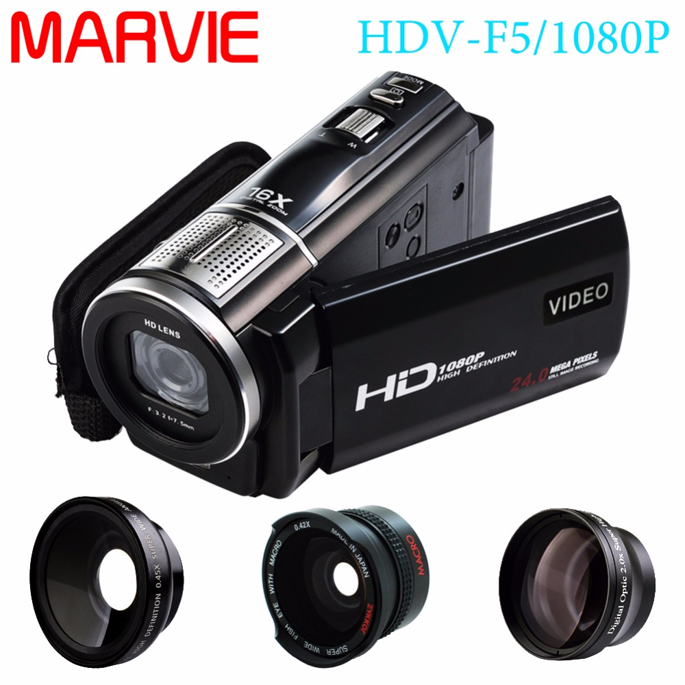 "Marvie 1080p 30fps filmadora Video Recorder 24MP 16X Anti-shake Macro Portable Camcorder 3"" Touch Screen HDMI out Video Camera 1"
