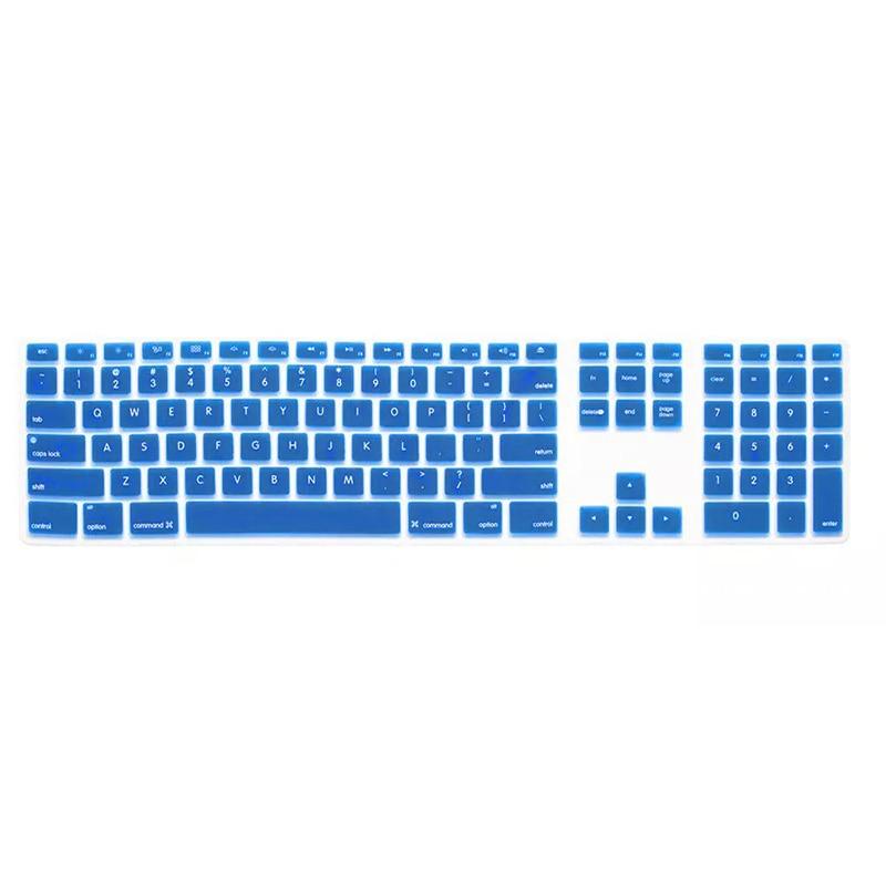 Силиконовые тонкие клавиатура кожного покрова протектор с цифровой клавиатурой для Apple iMac синий