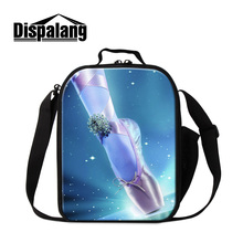 Dispalang cute ballet print lunch bags for women 3D lifelike toe shoes custom design insulated cooler bag students food lunchbox(China (Mainland))