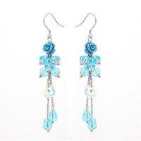 Fashion Round Shaped Sky Blue Crystal 925 Silver Hook Earrings Drop Earrings Drop Earring Long Earings