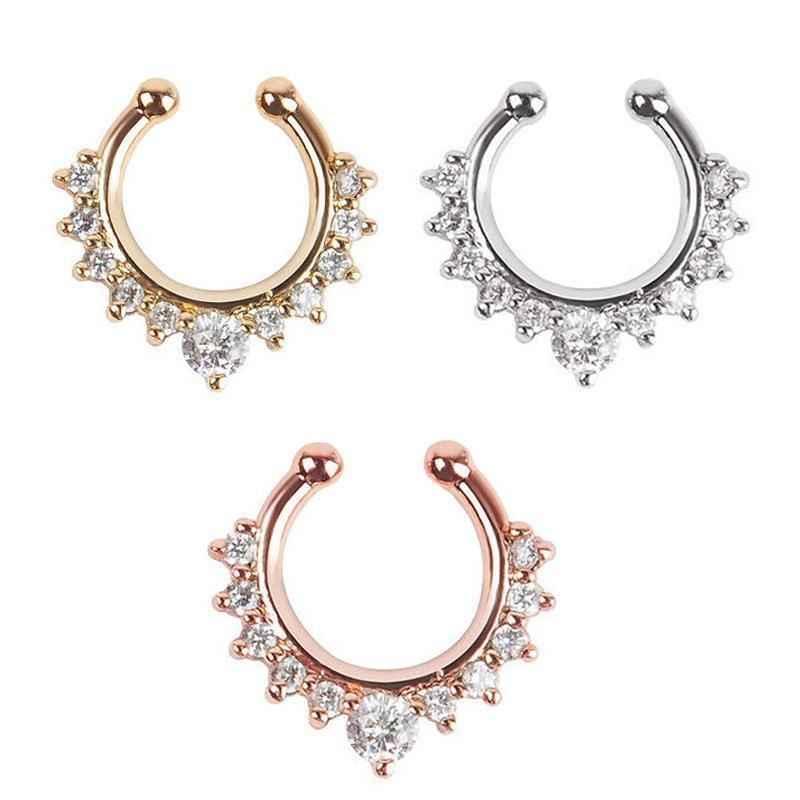1 Uds. Nuevo anillo de Nariz de cristal falso anillo de aro de nariz de septo Clip de Piercing falso en la nariz accesorios de joyería para mujeres regalo 3 colores