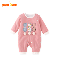Pureborn Baby Girl Romper Lovely Cartoon Cat Baby Clothes Thick Warm Cotton Jumpsuit Newborn Overall Baby Boys Gift Brand New