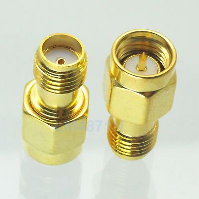 10pcs Adapter SMA male plug to SMA female jack RF connector straight plating M/F 10 pcs rf coaxial adapter sma female to mcx male straight new
