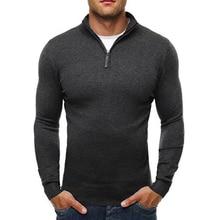 La MaxPa Brand Sweater Pullover Men Casual Slim Sweaters Classic Zipper High Collar Simple Solid Color Men Polo Sweater 3XL
