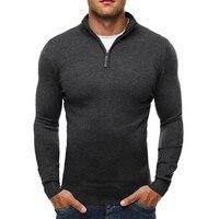 La MaxPa Brand Sweater Pullover Men Casual Slim Sweaters Classic Zipper High Collar Simple Solid Color