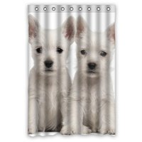 Cute Lovely White Dog Personalized Fabric Shower Curtain 48 W X72 H