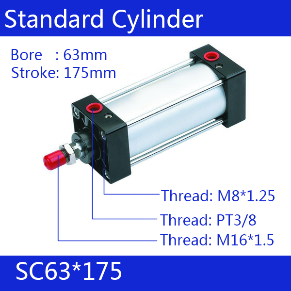 ФОТО SC63*175 63mm Bore 175mm Stroke SC63X175 SC Series Single Rod Standard Pneumatic Air Cylinder SC63-175