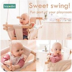 1 Juego de columpio de seguridad Bopoobo para bebés de 0 a 12 meses, columpio colgante, asiento de lona mecedora para niños, decoraciones para habitación interior infantil