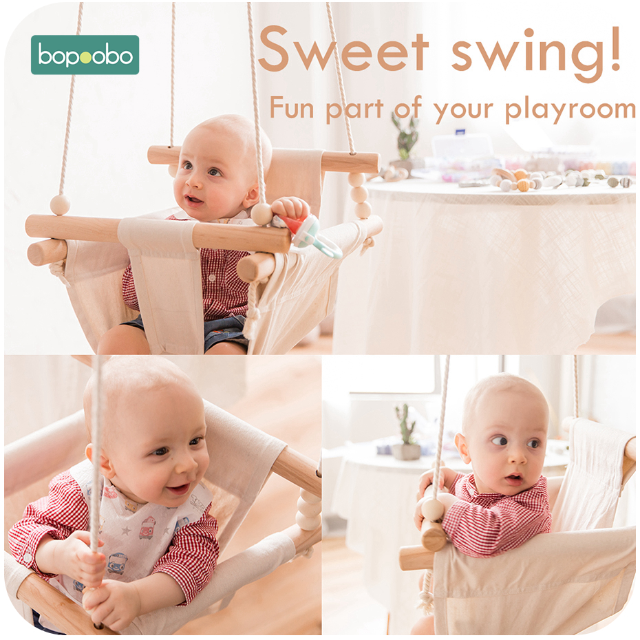 Bopoobo 1Set For 0-12 Months Baby Safety Swing Chair Hanging Swings Children Rocking Canvas Seat Infant Inside Room Decorations