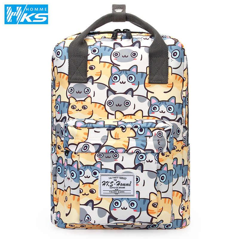 Mochila escolar para estudiantes kwaii Laptop mochila para adolescentes niñas niños mochila escolar bolsa de viaje para mujeres impermeable gato lindo