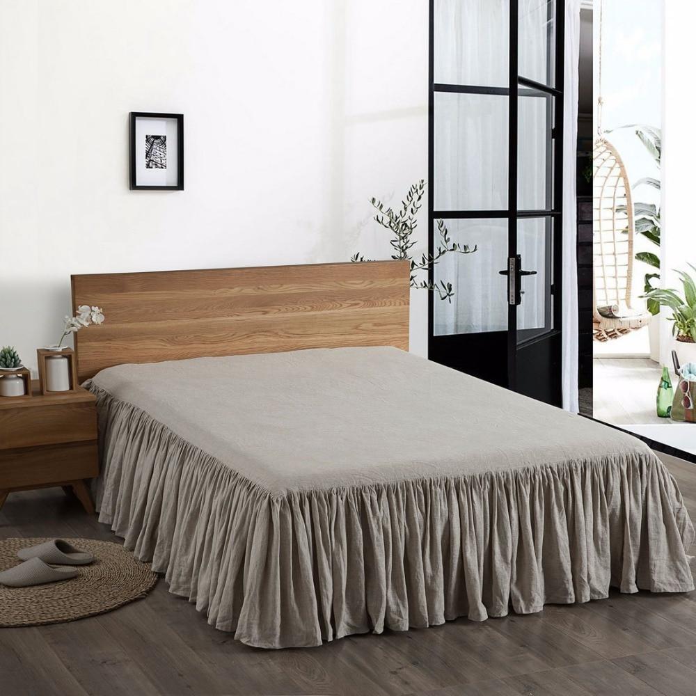 Esasilk 100 French Linen Flat Bed Skirts Dust Ruffle