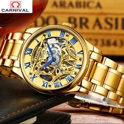2018 karnawał luksusowej marki Sapphire wodoodporny zegarek automatyczny mechaniczny hollow out pełna stali nierdzewnej mężczyzna zegarki wojskowe tourbillon
