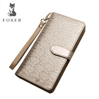 FOXER 2016 New Woemn Wallets Fashion Designers Women Long Wallet Genuine Leather Embossed Purse Wallet Women