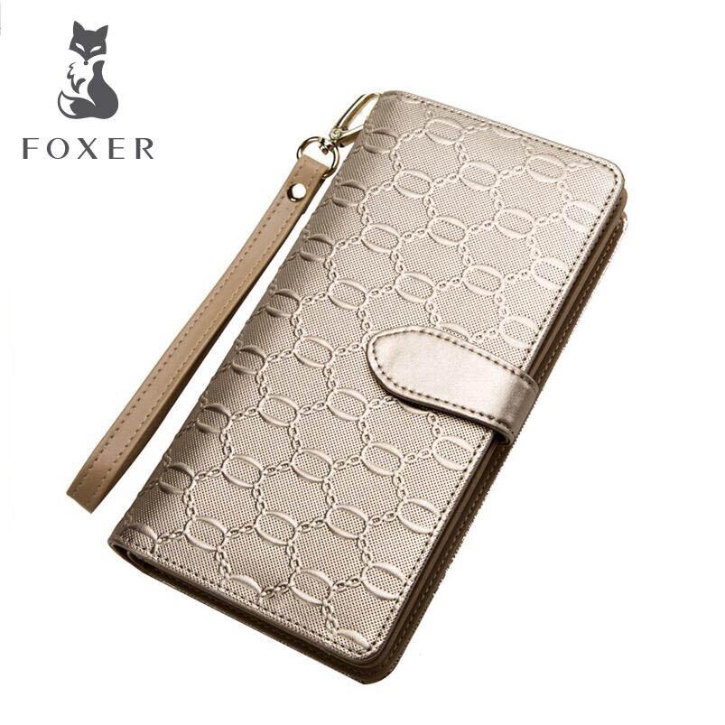 FOXER 2019 nouvelles femmes portefeuilles designers de mode femmes long portefeuille en cuir sac à main en relief portefeuille femmes embrayage sac